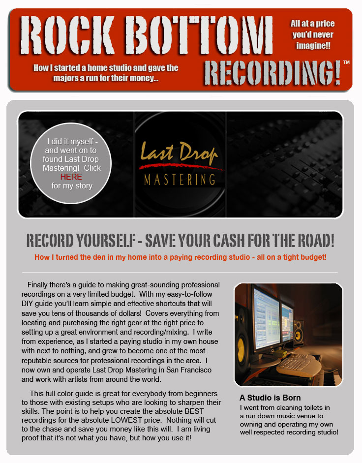 Free Home Recording Ebook / Guide - Rock Bottom Recording O